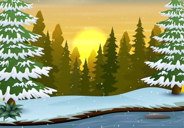Scena di inverno con il fondo della foresta e del fiume
