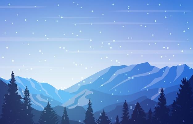 Scena di inverno paesaggio di neve con montagna di alberi di pino