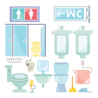 Scena di mobili toilette e servizi igienici