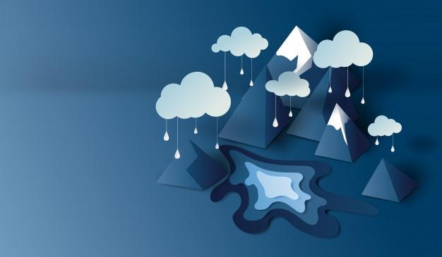 Scena di mountain view con sfondo stagione delle piogge
