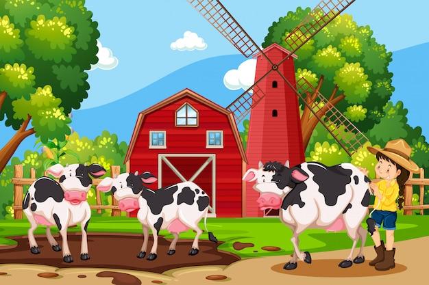 Scena di mucca e fattoria