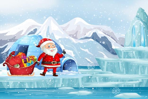 Scena di natale con santa nel polo nord