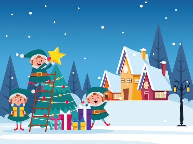 Scena di natale dello snowscape di inverno con l'illustrazione degli elfi e dell'albero