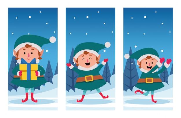 Scena di natale dello snowscape di inverno con l'illustrazione dei caratteri degli elfi