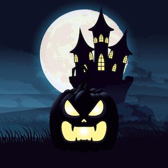 Scena di notte oscura di halloween con zucca e castello