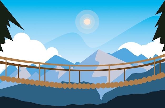 Scena di paesaggio bellissimo con ponte sospeso