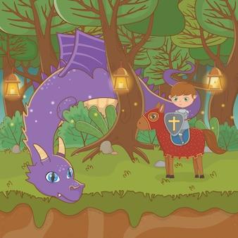 Scena di paesaggio da favola con drago e guerriero a cavallo
