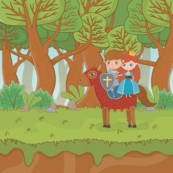Scena di paesaggio da favola con principessa e guerriero a cavallo