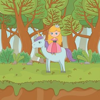 Scena di paesaggio da favola con principessa in unicorno