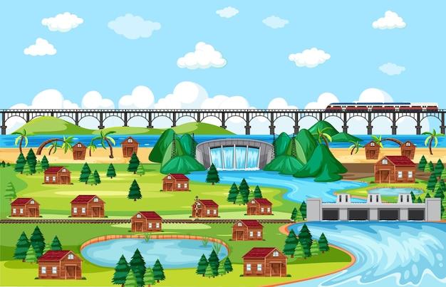 Scena di paesaggio del treno della città o della città e del ponte in stile cartone animato