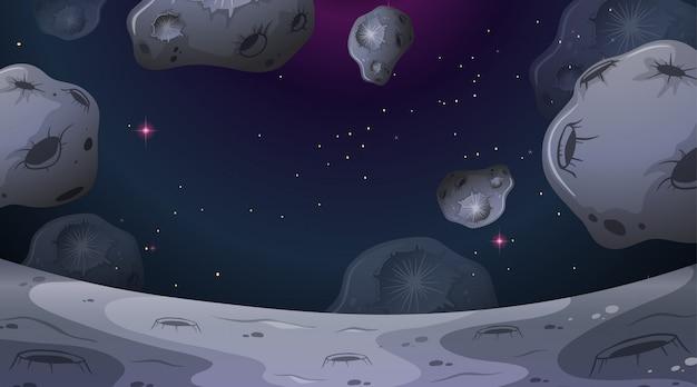 Scena di paesaggio di luna di asteroidi