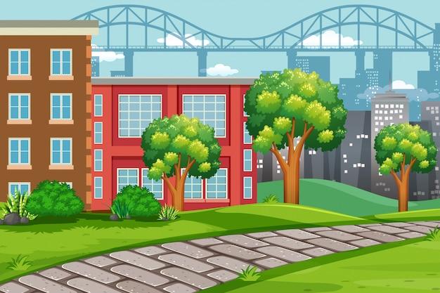Scena di paesaggio urbano all'aperto