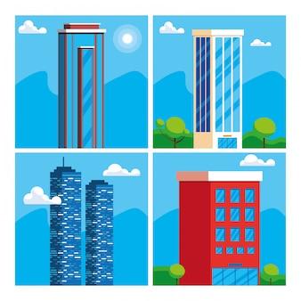 Scena di paesaggio urbano della costruzione di edifici
