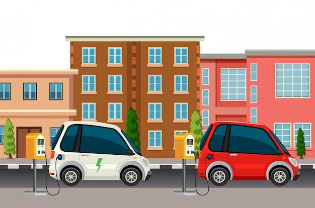 Scena di ricarica di auto elettriche