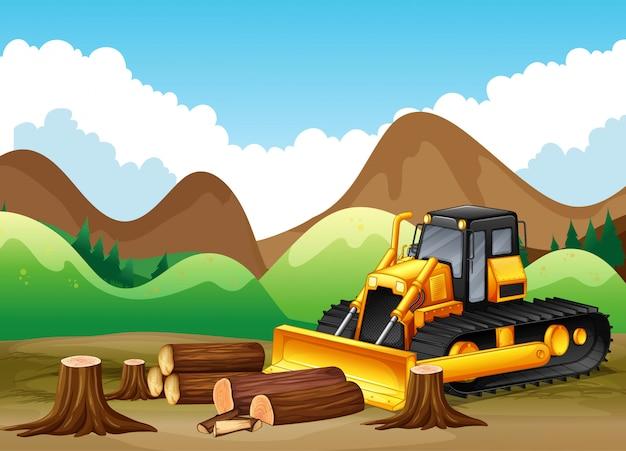 Scena di sfondo con alberi da tagliare