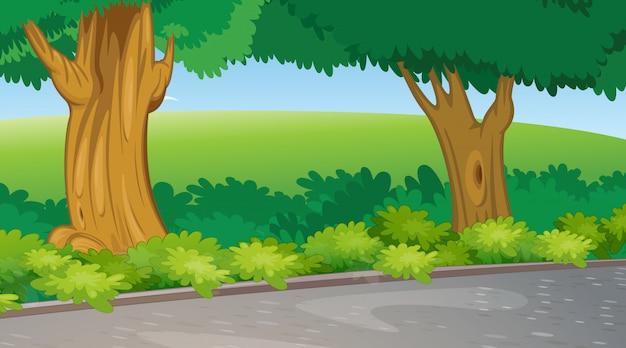 Scena di sfondo con alberi e campo