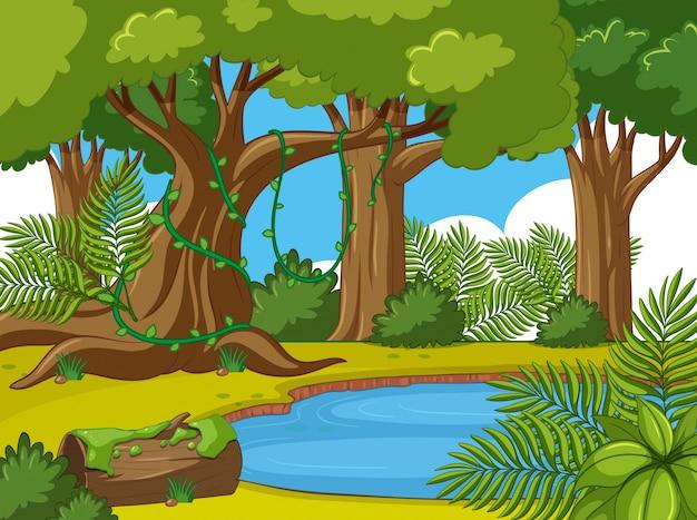 Scena di sfondo con alberi e stagno