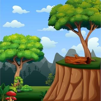 Scena di sfondo con albero sulla scogliera