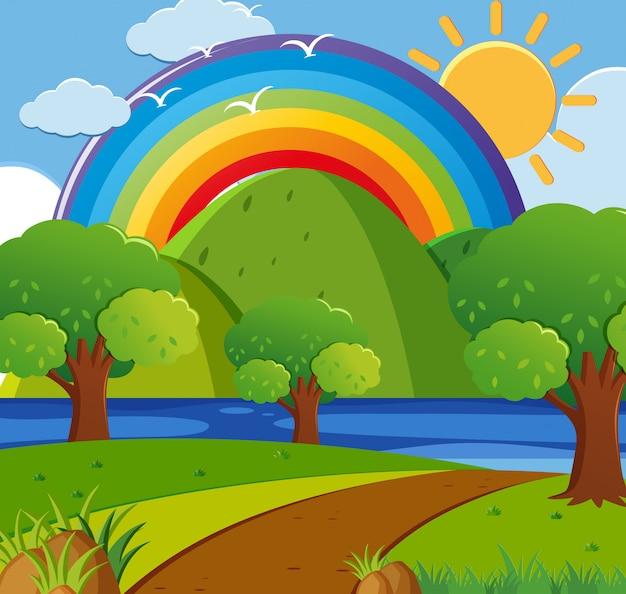 Scena di sfondo con arcobaleno sul parco