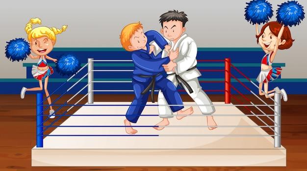 Scena di sfondo con atleti che combattono sul ring