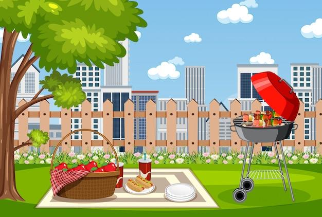 Scena di sfondo con barbecue nel parco