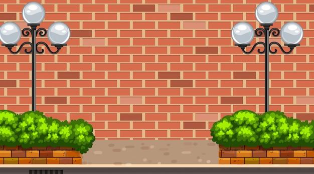 Scena di sfondo con brickwall e lampioni