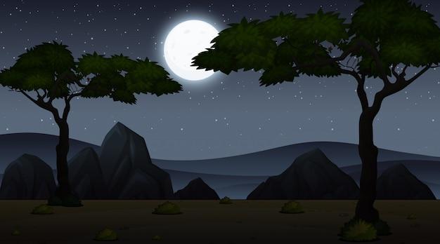 Scena di sfondo con cielo scuro al parco