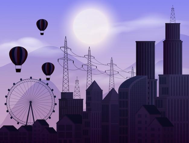 Scena di sfondo con cielo scuro in città