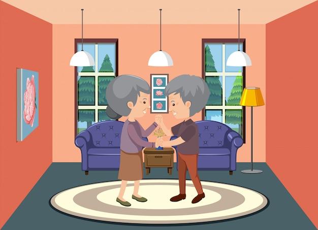 Scena di sfondo con coppia di anziani che rimangono a casa