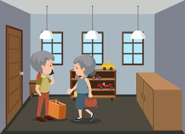 Scena di sfondo con gli anziani a casa