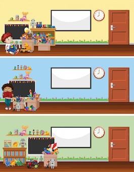 Scena di sfondo con lavagna e giocattoli