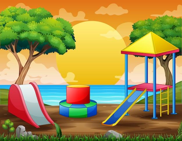 Scena di sfondo con parco giochi in riva al fiume