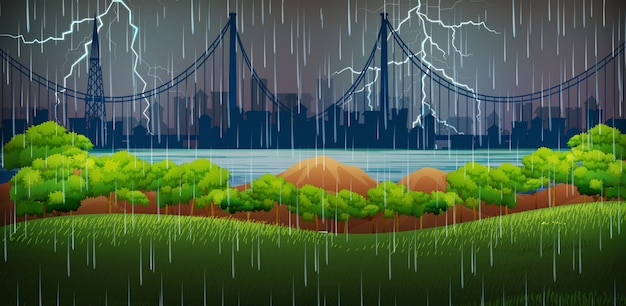 Scena di sfondo con pioggia e tuoni