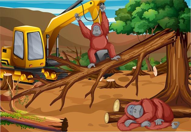 Scena di sfondo con scimmia e disboscamento