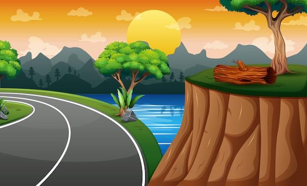 Scena di sfondo con strada e scogliera sul paesaggio