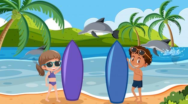 Scena di sfondo con surfisti e delfini