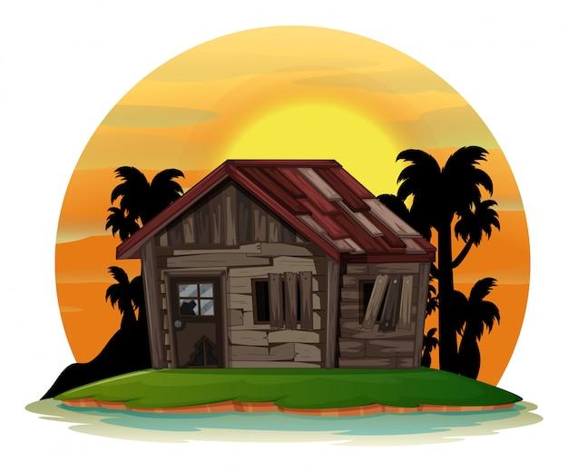 Scena di sfondo con vecchia casa di legno sull'isola