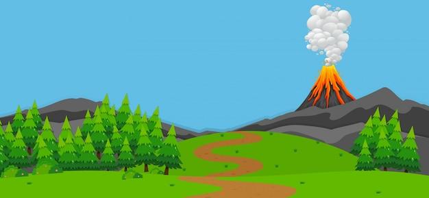Scena di sfondo con vulcano e foresta