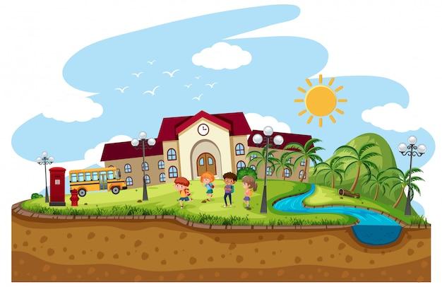 Scena di sfondo dei bambini a scuola