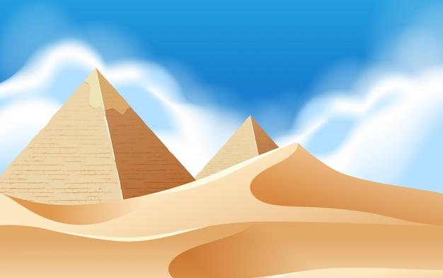 Scena di sfondo del deserto piramide