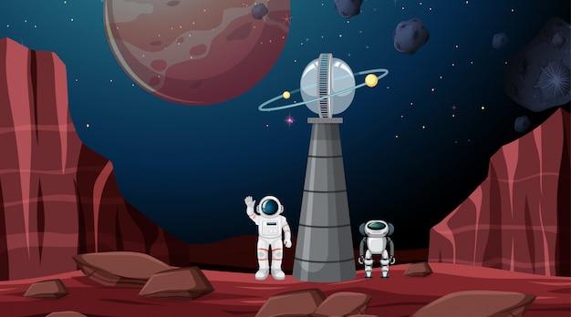 Scena di sfondo spazio astronauta