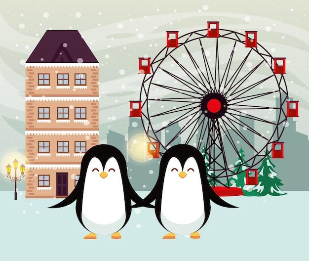 Scena di snowscape di natale con simpatici pinguini