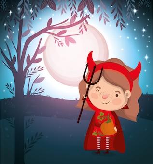 Scena di stagione di halloween con il diavolo del costume della ragazza