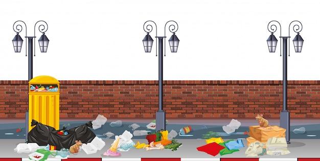 Scena di strada con immondizia