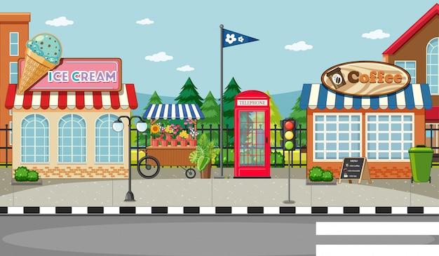 Scena di strada laterale con scena di gelateria e caffetteria