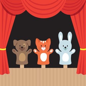 Scena di teatro di burattini per bambini con simpatici animali e tenda rossa.