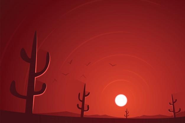 Scena di tramonto del deserto e dei cactus