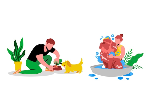 Scena di tutti i giorni con il concetto di animali domestici