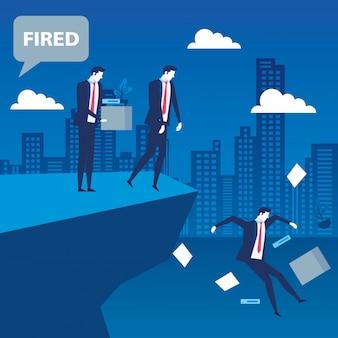 Scena di uomini d'affari disoccupati nel precipizio