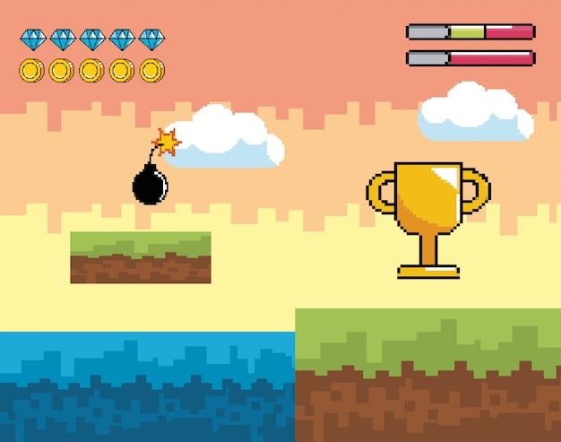 Scena di videogame con premio di coppa pixelata e bomba